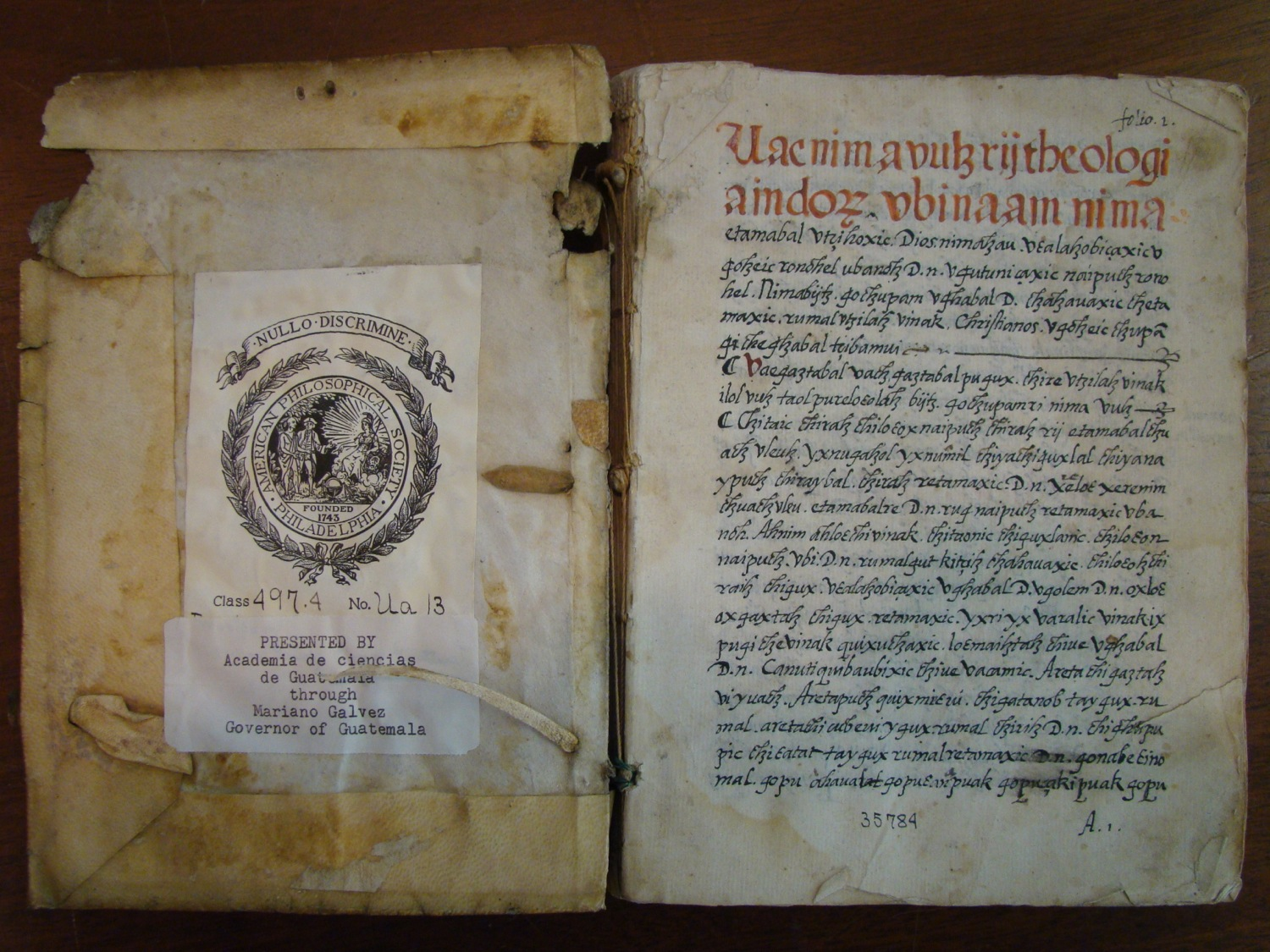 Manuscript copy of the Theologia Indorum